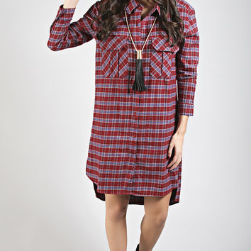 plaid party button up tunic