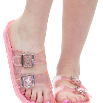 PINK GLITTER JELLY SLIDES from Shop