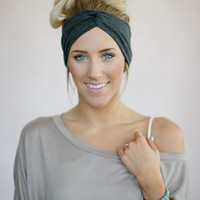 Cute Twist Headband, Knotted Head Wrap, Twisted Center Hair Wrap, Girl's Hair Accessories, Matte Jersey Turband in Dark Gray (HB-3841)
