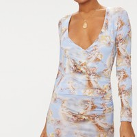 Pale Blue Renaissance Print Long Sleeve Plunge Bodycon Dress