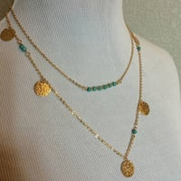 Turquoise and Gold Disc Double Layer Necklace