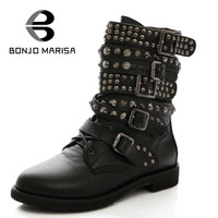 Plus Size 35-43 Women Cowboy Military Boots Punk Studded Rivet Shoes Woman Two Kind Outside Combat Riding Motorcycle Ankle Boots