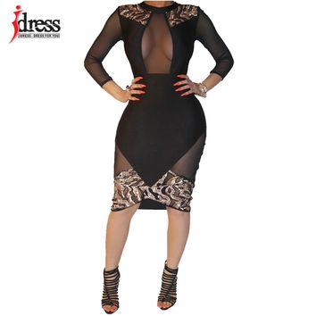 IDress Winter Women Black Sexy Club Bodycon Dress Sheer Mesh Patchwork Sequined Dress Vintage Long Sleeve Bandage Party Dresses