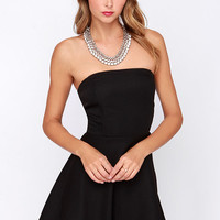 Dancing Darling Black Strapless Dress