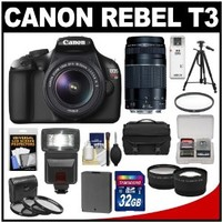 Canon EOS Rebel T3 Digital SLR Camera & 18-55mm IS Lens with 75-300mm Lens + 32GB Card + Battery + Case + 3 Filters + Tr
