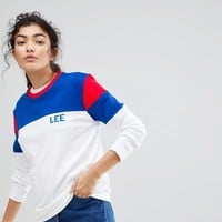 Lee Colour Block Sports Logo Sweatshirt at asos.com