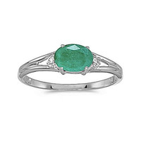 14K White Gold East West Emerald and Diamond Ring