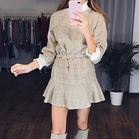 Vintage plaid dress womens Turtle neck knitted short dresses female Ruffle sashes elegant office ladies vestidos