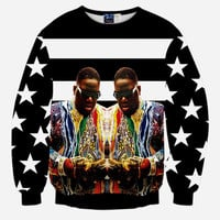Notorious B.I.G All Over Print Hip Hop Rapper Biggie Smalls Tribute Black & White Stars & Stripes Crew Neck Sweatshirt