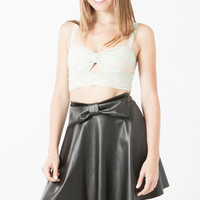Pleather Bow Skater Skirt