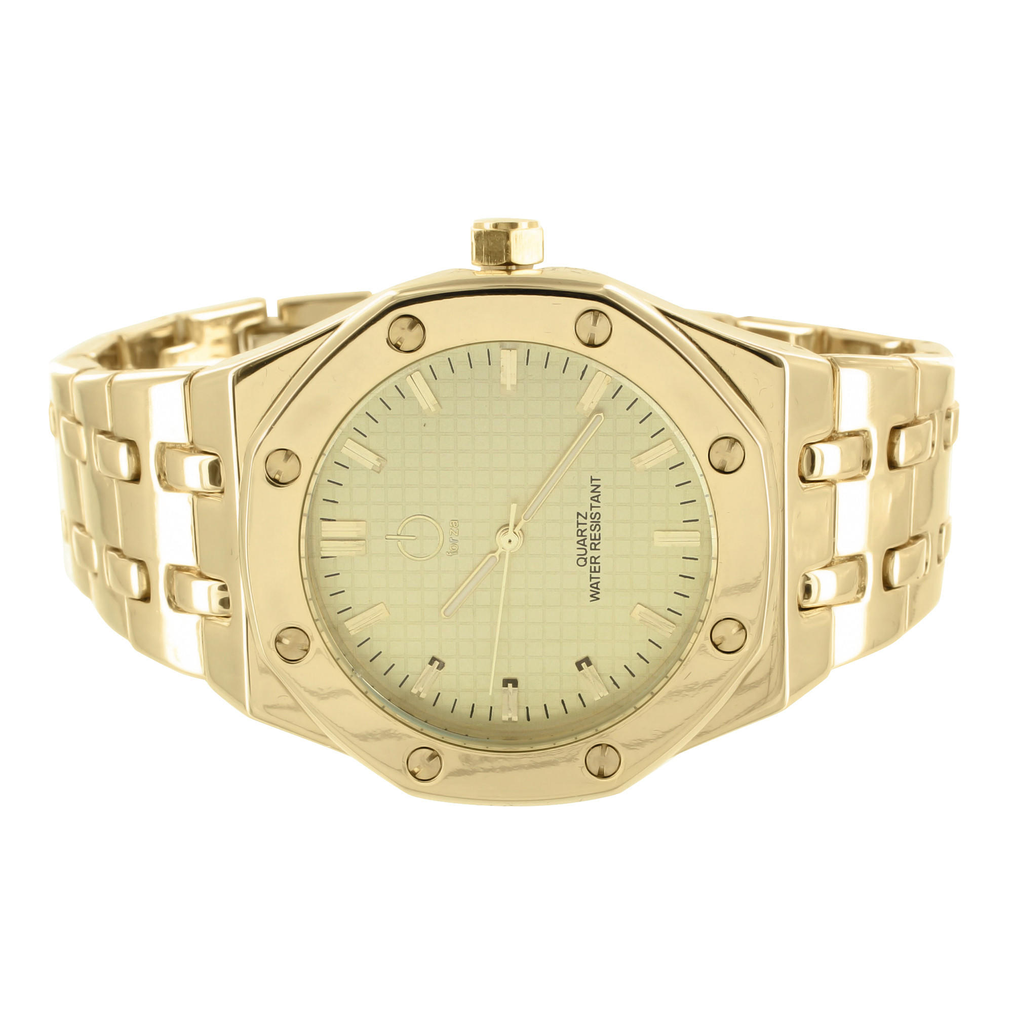 Image of Mens AP Style Watch Presidential 14k Yellow Gold Finish Metal Band