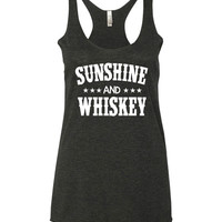 SUNSHINE & WHISKEY - Ladies, Tri-Blend Racerback Tank Top / Country Girl / Country Music