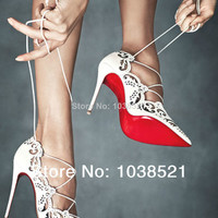 Aliexpress.com : Buy New 2014 Impera Rihanna Red Bottom Sexy Laser Pointed Toe Lace Up Women Pumps High Heels Sandals Ankle Women Motorcycle Boots from Reliable shirt maker suppliers on Shirley's Fashion Store