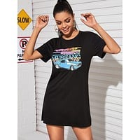 Car And Letter Graphic Tee Dress