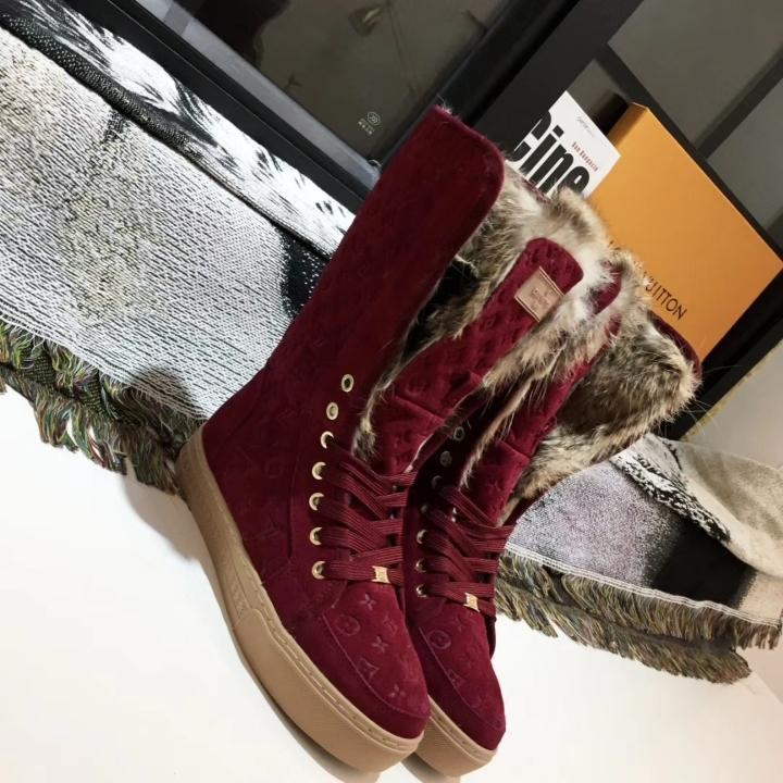 Image of lv louis vuitton trending womens men leather side zip lace up ankle boots shoes high boots 165