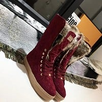 lv louis vuitton trending womens men leather side zip lace up ankle boots shoes high boots 165