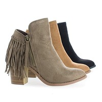 Buffy21 By Wild Diva, Fringe Western Stacked Heel Ankle Boots