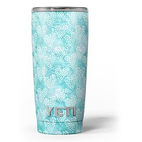Green and White Watercolor Hearts Pattern - Skin Decal Vinyl Wrap Kit compatible with the Yeti Rambler Cooler Tumbler Cups