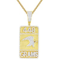 Men's Custom 448 GMS Weed Dog tag Silver Pendant Chain Hip Hop