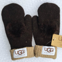 UGG Fashion Trending  Winter Women Keep warm Lovely Glove Dark Purple