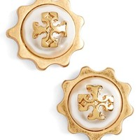 Women's Tory Burch Logo Faux Pearl Gear Stud Earrings - Ivory/ Worn Gold