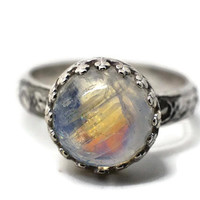 10mm Rainbow Moonstone Ring, Engagement Ring, Wedding Ring, Moonstone Jewelry, Floral Silver Ring
