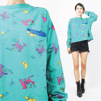 1980s Deadstock Sweatshirt Cowboys Horse Sweater Novelty Print Sweatshirt Womens Turquoise Long Sleeve Cropped Tshirt NOS Graphic (S/M/L)