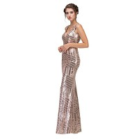 CLEARANCE - Floor Length Sequin Prom Dress V-Neck with Sheer Inset Rose Gold (Size XS)