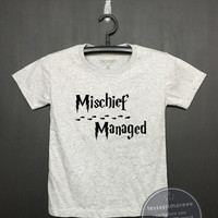 Mischief managed shirt - Harry potter Kids Shirt - Girls Clothing- Funny Birthday, Kid Shirt, little girl, hipster kids, Flock printing