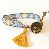 Periwinkle, Peach, Yellow, Navy and Mint Beaded Loom Bead Friendship Bracelet with Signature Gold Plated Button Adjustable with