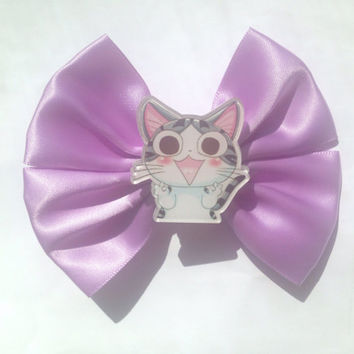 Chi's Sweet Home Hair Bow Anime Manga Chi Cute Cat Kitten Kitty Fairy Kei Kawaii Pastel Purple