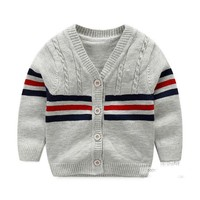Cotton Sweater Baby Fashion Infant Clothes Button Boys Sweater 2016  Baby Boy Cardigan Sweater Baby Boys Clothing High Quality