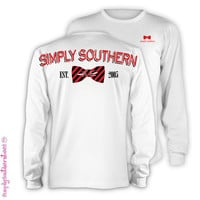 Simply Southern Est 2005 Garnett Red Bow Girlie Bright Long Sleeve T Shirt