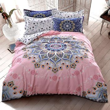 Bohemia/boho bedding cotton set flower duvet cover set winter comforter cover home bed sheet 4pcs fashion bed set pink bed linen