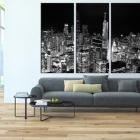 Chicago canvas Print Chicago Skyline wall art, Chicago Canvas Art, Chicago Night Canvas Print, large wall art Ready to Hanging  t139