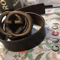 Gucci Belt Gold Brass Double G Brown Leather Worn Once