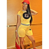 Fendi Summer New Fashion Sequin Letter Print Sports Leisure Two Piece Suit Top And Shorts Yellow