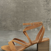 Madden Girl Leexi Chestnut Suede High Heel Sandals