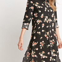 High-Slit Rose Print Tunic