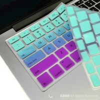 "TopCase Faded Ombre Series Light Blue & Purple Silicone Keyboard Cover Skin for Macbook 13"" Unibody / Macbook Pro 13"" 15"" 17"" with or without Retina Display / New Macbook Air 13"" / Wireless Keyboard"