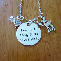 Bambi Inspired Necklace. Love is a song that never ends. Mother Daughter necklace. Father Daughter necklace. Hand Stamped, Swarovski Crystal