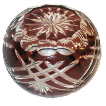 Vintage, Bohemian Glass, Bowl, Candle Holder, Burgundy Glass, Home Decor, Cranberry Glass, Candle Bowl, Collectible Bowl, Glass Decor