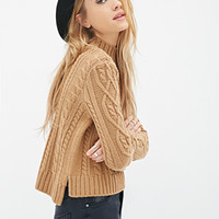 Cable Knit Mock-Neck Sweater