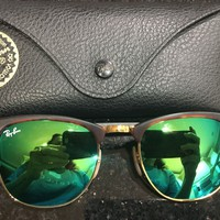 Cheap Rayban Havana/Gold With Green Mirror Sunglasses outlet