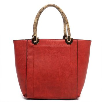 Womens Fashion Handbags Python Top Handle Tote Red