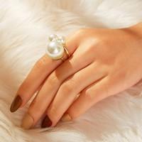 Faux Pearl Decor Double Layered Ring 1pc