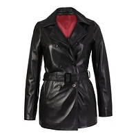 Carissa Womens Plus Size Black Belted 3/4 Long Leather Coat by Inland Leather Co.