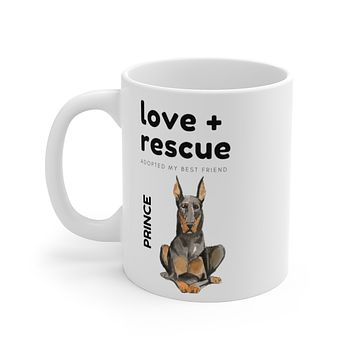 love + rescue Mug — Doberman