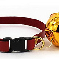 Adjustable Pet Dog Cat PU Leather Collar Release Buckle With Big Golden Bell M,Red