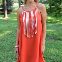Go Fight Win Gameday Fringe Dress - Orange / White